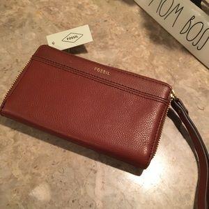 NWT Leather Tiegen Multi/Med/Brown/Wristlet/Wallet